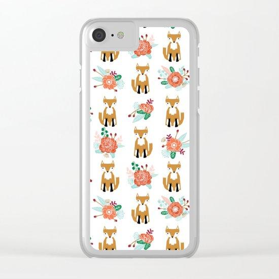 Autumn Fox florals cute bouquet foxy woodland kids baby gender neutral Clear iPhone Case