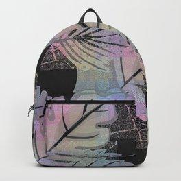 Colorful leaves on black. Grunge Backpack