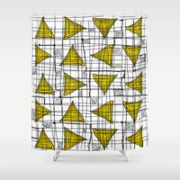 yellow pattern Shower Curtains featuring Yellow by Ivano Nazeri