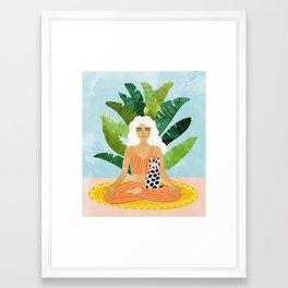 Meditation With Thy Cat #illustration #painting Framed Art Print