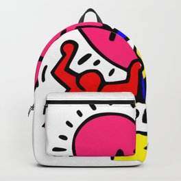 "Keith Haring inspired ""I Love Art"" Primary Colors edition Backpack"
