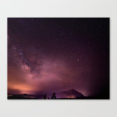FOGGY PINK AND PURPLE MILKYWAY AND MOUNTAIN Canvas Print
