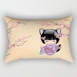 Japanese Neko Kokeshi Doll V2 Rectangular Pillow