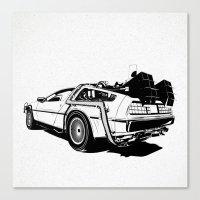 delorean Canvas Prints featuring DeLorean / BW by CranioDsgn