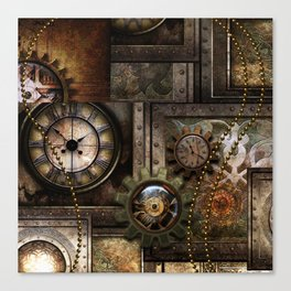 Steampunk, wonderful clockwork with gears Canvas Print