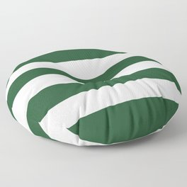 Cal Poly Pomona green - solid color - white stripes pattern Floor Pillow