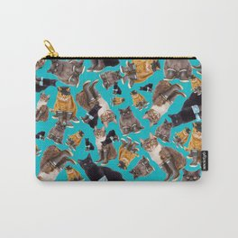 Tough Cats on Aqua Carry-All Pouch
