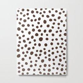 6-303-5, Dark brown & White big polka dots, Abstract fabric design, Boho decor, Metal Print