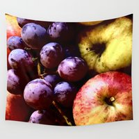 fruits Wall Tapestries featuring FRUITS by MehrFarbeimLeben