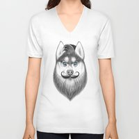 husky V-neck T-shirts featuring bearded husky by NikKor