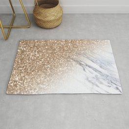 Bronze Copper Gold Glitter White Gray Marble Concrete Luxury V Rug