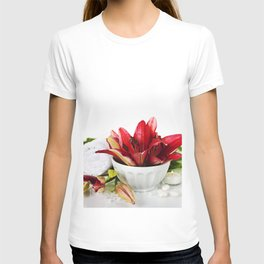 Spa concept (flowers, towel and sea salt). White background T-shirt