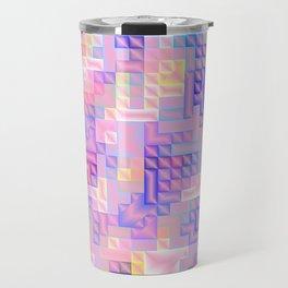 abstract pattern in rose,pink,yellow, blue,purple,checks metal Travel Mug