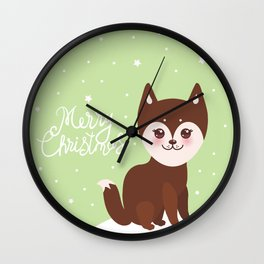 Merry Christmas New Year's card design funny brown husky dog, Kawaii face Wall Clock
