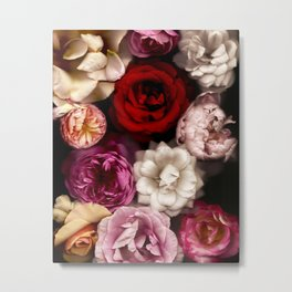 Pink, White, and Red Roses Metal Print