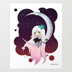 Silver Butterfly moon Art Print