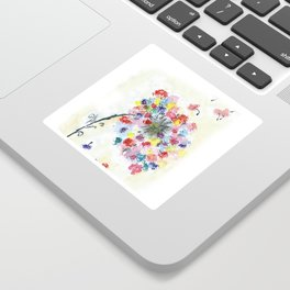 Dandelion watercolor illustration, rainbow colors, summer, free, painting Sticker