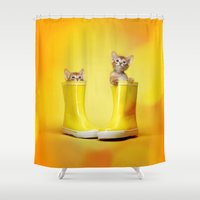 kittens Shower Curtains featuring KITTENS by I Love Decor