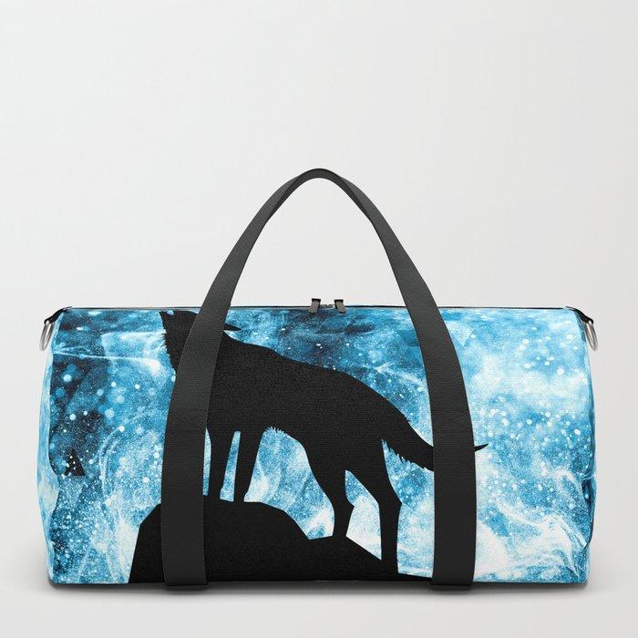Howling Winter Wolf snowy blue smoke Duffle Bag