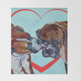 Be My Valentine Kissing Boxers Throw Blanket