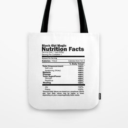 Black Girl Magic Nutrition Facts Tote Bag