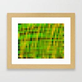 green yellow and black pixel Framed Art Print