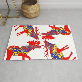 Graphic Elk Moose 01 Swedish Dala Mix Rug
