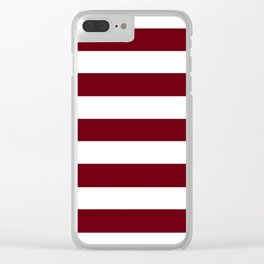 Rosewood - solid color - white stripes pattern Clear iPhone Case