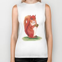 squirrel Biker Tanks featuring Squirrel by Yana Elkassova