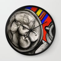 fruit Wall Clocks featuring Fruit by Helen Syron