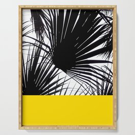 Black and White Tropical Palm Leaves on Sunny Yellow Serving Tray