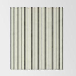 Mattress Ticking Wide Striped Pattern in Dark Black and Beige Throw Blanket