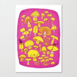 FUN-Gi Mushrooms - Playful Pink Canvas Print