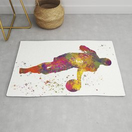 Basketball player 06 in watercolor Rug