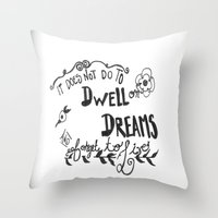 dumbledore Throw Pillows featuring Modern Harry Potter/Dumbledore Quote by Salty Books