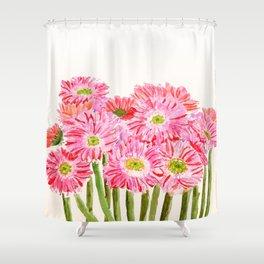 Pink Gerbera Daisy watercolor Shower Curtain