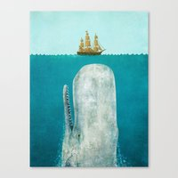 white Canvas Prints featuring The Whale  by Terry Fan