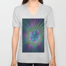 Colorful and luminous Fantasy Flower, Abstract Fractal Art Unisex V-Neck