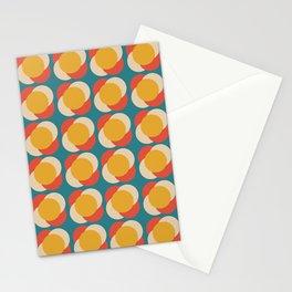 Minimalist Mid Century Retro Circles Blue Pattern Stationery Cards