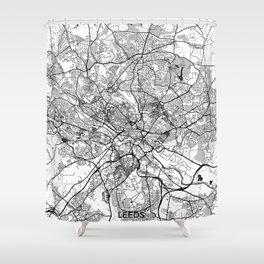 Leeds Map Gray Shower Curtain