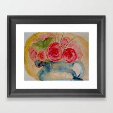 Flowers in a blue vase Framed Art Print