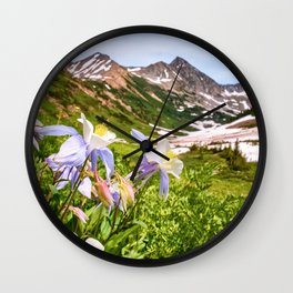 High Country Summer Wildflowers Crested Butte Colorado Mountain Landscape Wall Clock