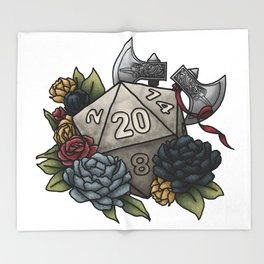 Barbarian Class D20 - Tabletop Gaming Dice Throw Blanket