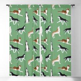 Husky Pattern (Green Background) Blackout Curtain