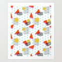 Bounce - abstract minimal retro throwback 1980s grid circle shapes memphis design pattern print art by wacka