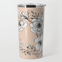 Line Flower Wreath Travel Mug