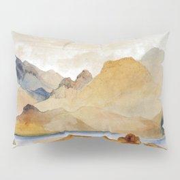 Cinnabar Mountain Yellowstone River Watercolour 1871 By Thomas Moran   Watercolor Reproduction Pillow Sham