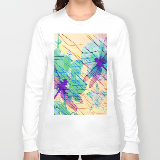 Colorful Dragonflies Long Sleeve T-shirt