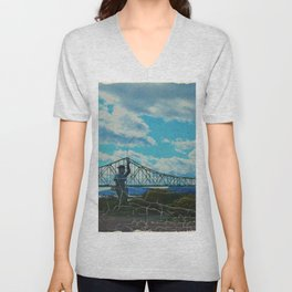 Aged Angler and Fish at the Campelton Bridge Unisex V-Neck