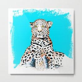 Leopard King Ink Blue Metal Print